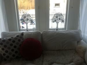 koselig med karnapp:) elsker sølvtrærne mine! elsker den hvite soffan:)